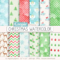 Christmas digital paper: CHRISTMAS WATERCOLOR by Grepic on Etsy