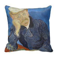 #Portrait of #Doctor Gachet by Vincent Van Gogh Throw #Pillows #vangogh #throwpillow