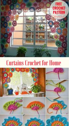 Curtains Crochet for Home [Free Pattern and Tutorial] Fabulous crochet curtains for the home tutorial shows the way how to make these flowers and join them together. The language of the tutorial is not English but the most important is the stitch. So focus on the picture and watch attentively. #crochet #curtains #freepattern