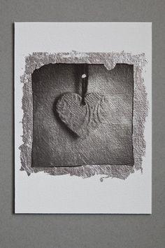 Heart 1 - Silver leaf Polaroid emulsion lift