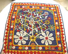 Folk art textile antique embroideryapplique by ThreadsOfOld, $350.00