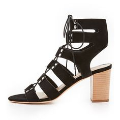 Loeffler Randall Hana City Sandals -  black sandals, black lace up sandals, black block heel sandals, black lace up block heel sandals