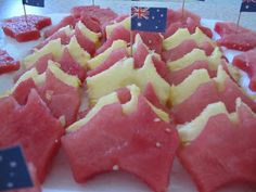 Australia day snacks - watermelon and pinapple fruit cut with an Australia shaped cookie cutter. too clever.
