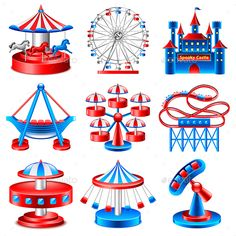 Amusement Park Icons Vector Set by Amusement Park Icons Detailed Photo Realistic Vector Set Zip file includes: - editable vector- high-resolution jpg- layere Amusement Park Party, Drawing For Kids, Art For Kids, School Board Decoration, Concert Stage Design, School Library Displays, Fair Theme, Carnival Themed Party, Circus Poster