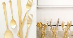 Buy it: Anthropologie wants $48 per setting for this gold-colored flatware.  DIY it: It's true — you can spray-paint forks, spoons, and knives the safe way for an unexpectedly cool effect.  Photo by Bryce Covey Photography via Style Me Pretty