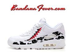 6760471b85 Custom Bape Camo Shark Nike Air Max 90 Shoes Ultra White