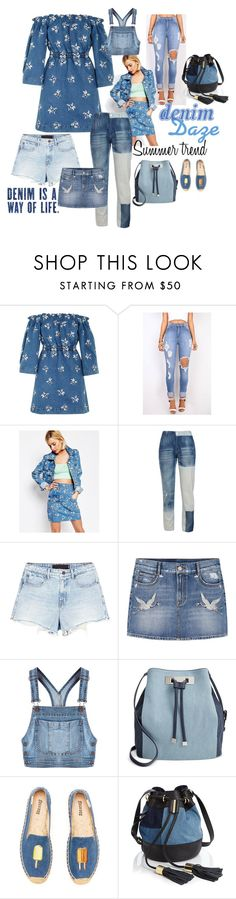 """""""Summer trends: demin daze"""" by georgia-grace-sheldon ❤ liked on Polyvore featuring House of Holland, STELLA McCARTNEY, Alexander Wang, MANGO, Moschino, INC International Concepts, Soludos and See by Chloé"""