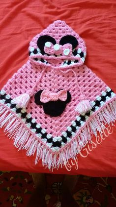 Best 12 Beautiful hand crochet poncho and hat in minni mouse coloured red black and white. Crochet Baby Poncho, Crochet Poncho Patterns, Baby Girl Crochet, Crochet Baby Clothes, Crochet For Kids, Crochet Shawl, Baby Knitting, Hand Crochet, Baby Hut