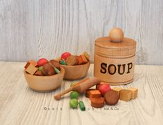 On sale! Soup set with pot, bowl and ingredients! Play kitchen wooden food.