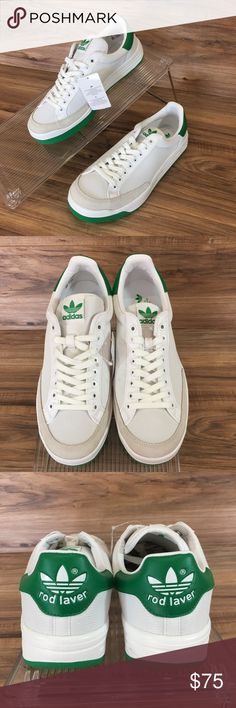 new concept 9c68c ce327 ADIDAS Rod Laver White Green Mens Sneakers New
