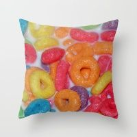 Fruity Cereal Throw Pillow