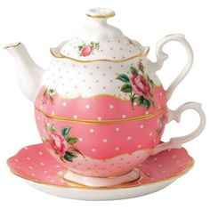 Royal Albert Cheeky Pink Tea For One Set ($93) ❤ liked on Polyvore featuring home, kitchen & dining, teapots, polka dot tea set, bone china tea pot, rose tea pot, tea set and polka dot tea pot