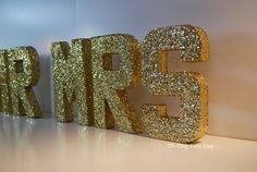 "MR MRS LETTERS Gold Glittered Wedding Decor Signage Featured on ""Wedding Chicks"" Black Tie Wedding, Elegant Celebration"