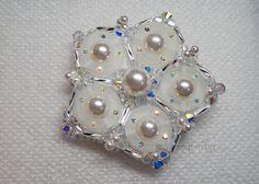 Bridal Brooch with Swarovski Elements, Pearl Brooch, Bridal Shower Gift, Scarf Brooch, Hat Brooch, Wedding Brooch, Gift for Bride by YaesilJewelry on Etsy