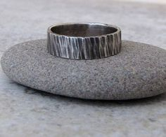 Hey, I found this really awesome Etsy listing at https://www.etsy.com/listing/64782593/mens-wedding-band-silver-bark-ring