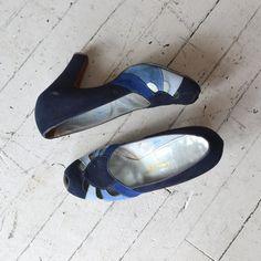 vintage 40s shoes / 1940s heels / Sky Transition heels. $136.00, via Etsy.