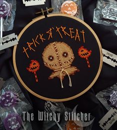 Learn Embroidery, Cross Stitch Embroidery, Embroidery Patterns, Funny Embroidery, Cross Stitch Designs, Cross Stitch Patterns, Stitching Patterns, Sam Cross, Sam Trick R Treat