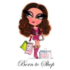 Glamorous and Gorgeous: SLC001 Born To Shop, £5.00, Glamorous & Gorgeous, Cards, Scruffy Little Cat, Scruffy Little Cat