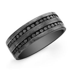 Victoria Kay Sterling Silver with Black Rhodium Men's Black Diamond Band (1 1/8cttw)