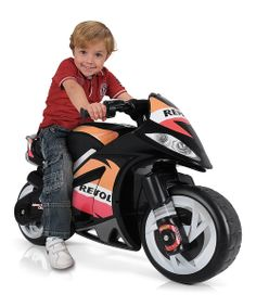 Little ones feel the need for speed atop this riveting ride-on. Durable construction and vibrant decals lend to its realistic design, and the twistable hand throttle ensures a smooth, safe drive.Includes ride-on and battery chargerWeight capacity: 75 lbs.39'' W x 24'' H x 18'' DMetal ...