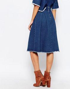 Image 2 ofFirst & I Raw Hem Denim Midi Skirt