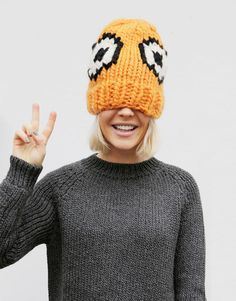 The EEK Hat - a collaboration between Wool and the Gang and Giles Deacon for London Fashion Week Fashion Face, Cute Fashion, High Fashion, Knitting Kits, Winter Essentials, Warm Coat, Autumn Winter Fashion, Knitted Hats, Knit Crochet