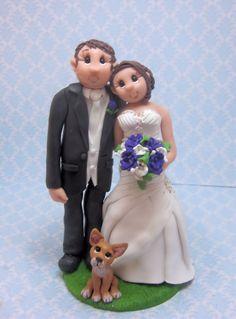 Custom Bride and Groom with dog Wedding by lynnslittlecreations