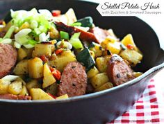Skillet Potato Hash with Zucchini and Smoke Sausages provides a perfect trio of flavors for breakfast, brunch, lunch or dinner. Smoked Sausage Recipes, Smoked Sausages, Potato Hash Recipe, Potato Recipes, Pork Recipes, Easy Recipes, Healthy Recipes, Brunch Dishes
