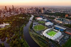 Tennis Centre and MCG in the foreground, Melbourne in the background