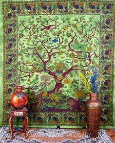 Indian Tapestry Green Tree of Life Print Wall Hanging Ethnic Bed Sheet Decor JUK  #mandala #boho #bohemian #bohobabe #bohoinspo #wanderlust #soul #soulfood #love #hippy #hippie #love #doona #home #homewares #bedding #bohobedding #gypsy #bohemianspiritcollective #wanderlust #soul #soulfood #gypsy #hippie #hippy #nirvana #turquoise #wallhanging #Indian #Tapestry #Wall #Decore #ebay #UK