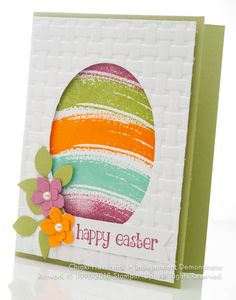 March 2018 Stamp A stack # Easter egg Diy Easter Cards, Easter Greeting Cards, Greeting Cards Handmade, Handmade Easter Cards, Holiday Cards, Christmas Cards, Egg Card, Diy Ostern, Scrapbook Cards