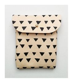 POUCH // beige leather with black triangles by BlackbirdAndTheOwl, €20.00