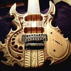custom carved guitar from Alabama, US by Grey Van Kuilenburg