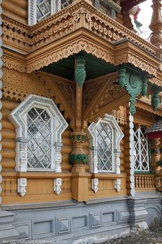 """The datcha (cottage) of the merchant Bugrov at the Sejm station :: Russia - - - Ecological Russian style, """"Ropetovsky"""" and its version - with wooden """"towels"""" and """"embroideries"""", propagated in the in Abramtsevo"""