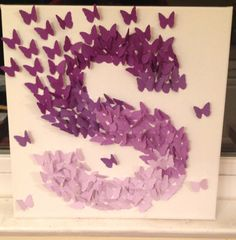 3D Butterfly Wall Art Purple Ombre Alphabet di TheCoralCanopy