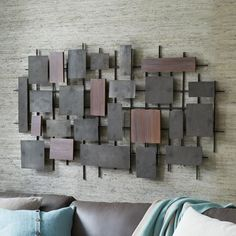 something like this for long wall in living room Hammered Metal + Wood Wall Art   West Elm