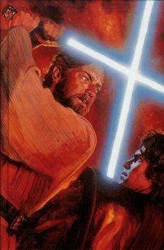 Kenobi and Skywalker on Mustafar, Skywalker's final battle before becoming Darth Vader.