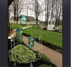 Too cute not to PIN!!! Easy DIY Chandelier for the Garden - Wire Free Outdoor Lighting - Country Living
