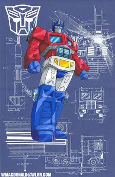 Autobot Leader Optimus Prime By William MacDonald Los Autobots, Transformers Optimus Prime, Gi Joe, Transformers Generation 1, Mileena, Cartoon Tv, Cultura Pop, Retro, Anime