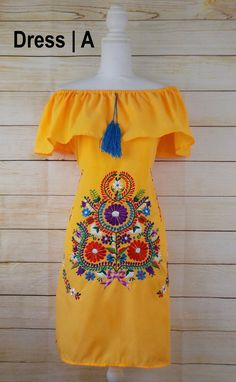 Women's Mexican Dress - Embroidered Dress - Off the Shoulder Dress - Bohemian Dress - Peasant Dress - Yellow Mexican Dress - Mexican Fiesta Mexican Fiesta Dresses, Mexican Style Dresses, Mexican Clothing, Mexican Costume, Mexican Outfit, Traditional Mexican Dress, Red Quinceanera Dresses, Mexican Embroidered Dress, Mexico Fashion