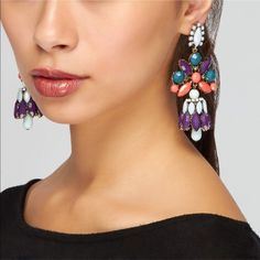 Multi Color Stone Chandelier Earrings New with tag - retail price is 30$ - Chandelier earrings with multi-colored stone accents Post back closure Fashion Jewelry Jewelry Earrings