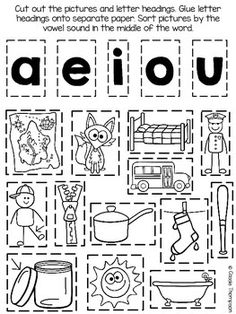 Median short vowel picture sort- freebie more vowel worksheets, school First Grade Reading, First Grade Classroom, Word Study, Word Work, Jolly Phonics, Phonics Rules, Short Vowel Sounds, Reading Activities, Short Vowel Activities