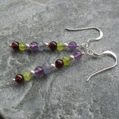 Sterling Silver Peridot Garnet Amethyst and Tanzanite Drop Earrings £15.00 Peridot, Amethyst, Handcrafted Jewelry, Handmade Items, Daily Challenges, Recycled Jewelry, Beautiful Gifts, Gifts For Friends, Garnet