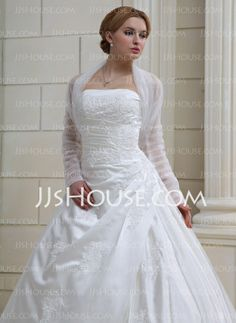 Wraps - $39.99 - Long Sleeve Tulle Wedding Wrap (013022585) http://jjshouse.com/Long-Sleeve-Tulle-Wedding-Wrap-013022585-g22585