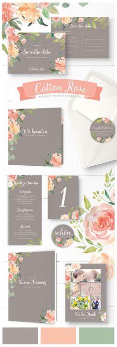 """Hochzeitskarten design, Aquarelltechnik auf grauem Kraftpapier mit pfirsichfarbenen Pfingstrosen, Eukalyptus- und Olivenzweigen.  Hochzeitspapeterie """"Cotton Rose"""" von Marry Paper."""