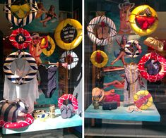 #windowdisplays Think summer by covering wreaths from a craft store with bright colors and add cording.