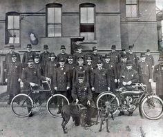Newport News Police Department -  1911 photo showing their officers with bicycle and an Indian police bike.
