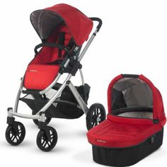 Uppababy Vista - in gray. Great storage and can accommodate car seat.