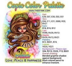New Digital Stamps: Gabbie Butterfly Fae & Bella Peace, Love & Happiness Copic Color Chart, Copic Colors, Color Charts, Colour Combo, Colour Combinations, Color Blending, Copic Markers Tutorial, Copic Art, Color Of The Day
