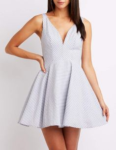 ~CLICK TO BUY~Charlotte Russe Notched Seersucker Skater Dress #fashion #skater #dress #clothing